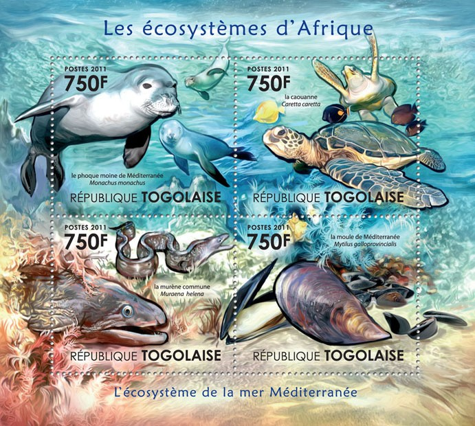 Ecosystem of Mediterranean Sea. - Issue of Togo postage stamps