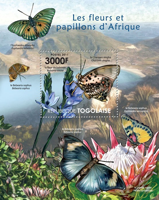 Butterflies & Flowers of Africa. - Issue of Togo postage stamps