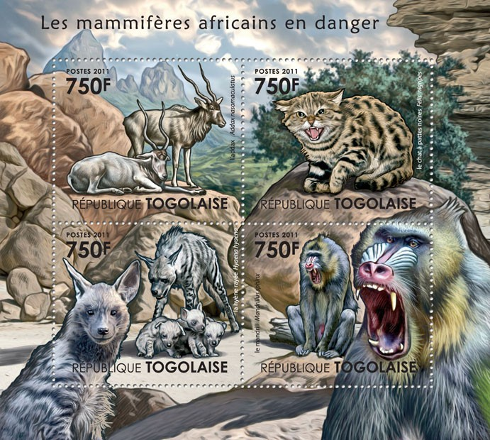 African Mammals at Danger. - Issue of Togo postage stamps