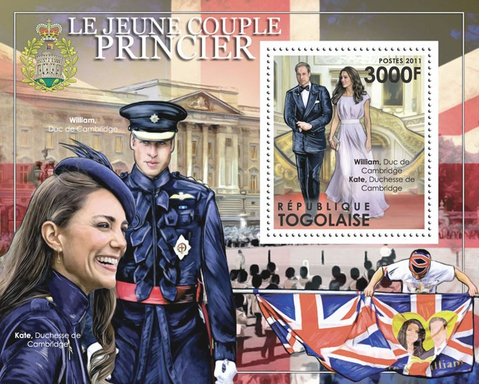 The Young Royal Couple, Prince William & Katherine Middleton. - Issue of Togo postage stamps
