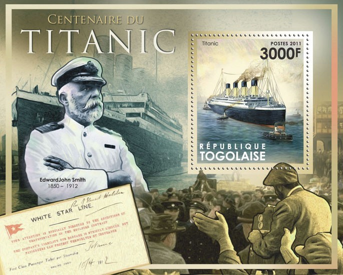 Centenary of the Titanic. - Issue of Togo postage stamps