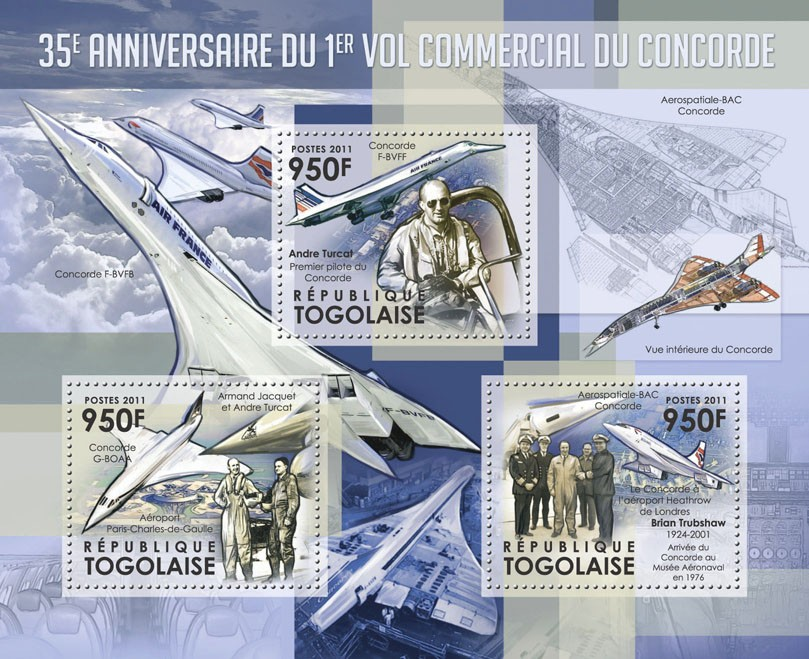 35th Anniversary of the First Commercial Flight of Concorde. - Issue of Togo postage stamps