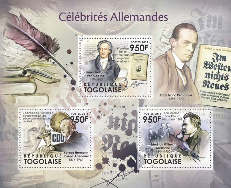 German Celebrities, (J.W. von Goethe, F.W. Nietzsche) - Issue of Togo postage stamps