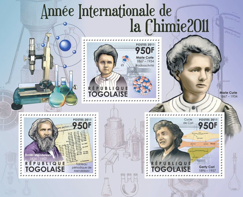 International Year of Chemistry 2011, (Marie Curie, Gerty Cori). - Issue of Togo postage stamps