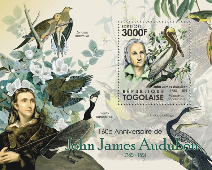 160th Anniversary of John James Audubon, (1785-1851), Birds. - Issue of Togo postage stamps