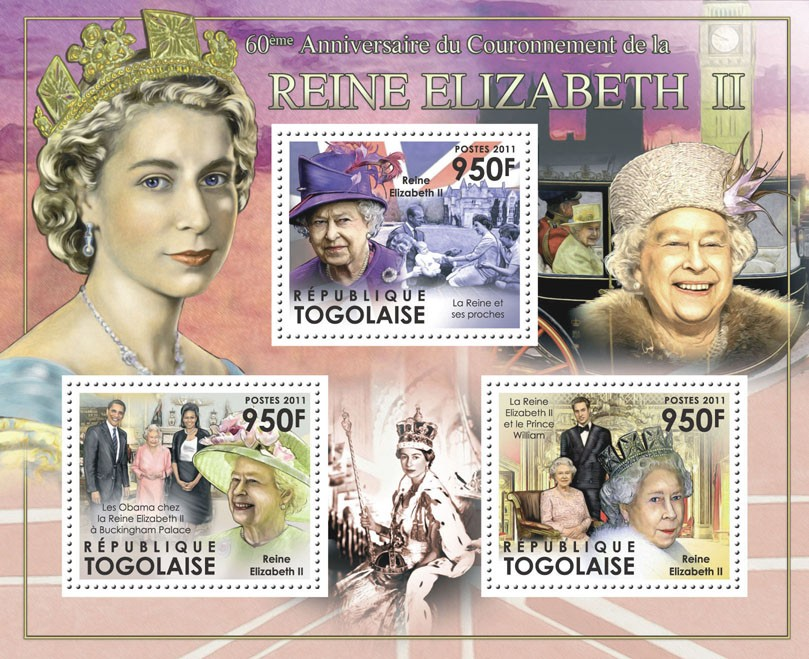 60th Year of Coronation of Queen Elizabeth II. - Issue of Togo postage stamps