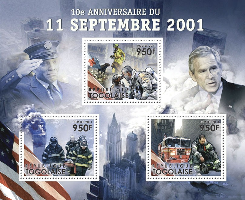 10th Anniversary of Tragedy of 11 September 2001?タᆵ, (Red Cross). - Issue of Togo postage stamps