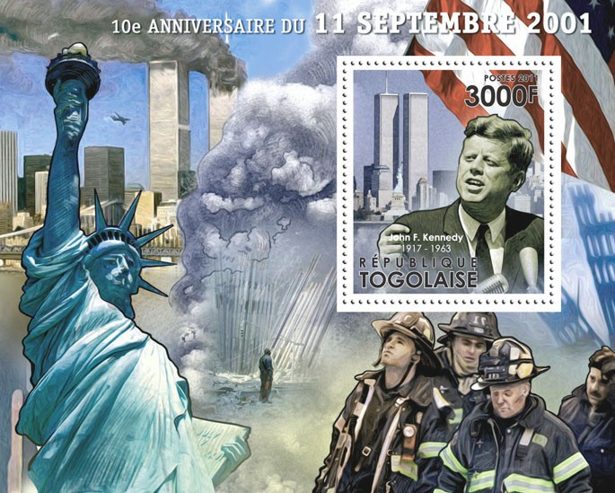 10th Anniversary of Tragedy of 11 September 2001?タᆵ, ( John F. Kennedy ). - Issue of Togo postage stamps