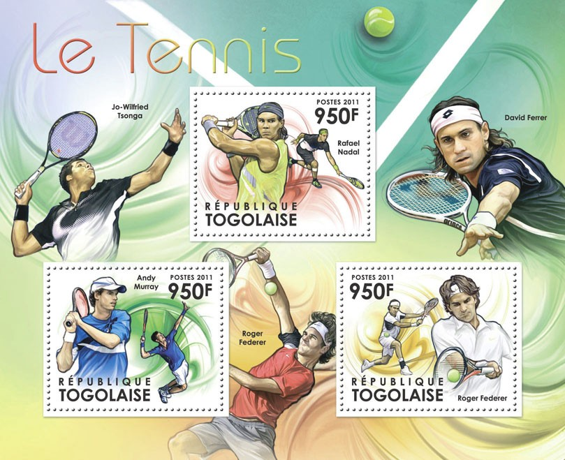 Lawn Tennis, (Rafael Nadal, Andy Murray, Roger Federer). - Issue of Togo postage stamps