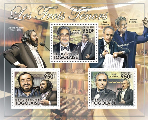The Three Tenors, (Luciano Pavarotti, Pl??cido Doming, Jose Carreras) - Issue of Togo postage stamps