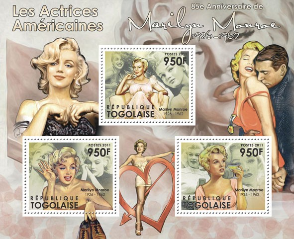 The American Actresses - 85th Anniversary of Marlyn Monroe, (1926-1962). - Issue of Togo postage stamps