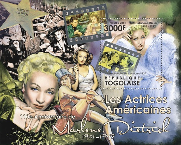The American Actresses - 110th Anniversary of Marlene Detrich, (1901-1992). - Issue of Togo postage stamps