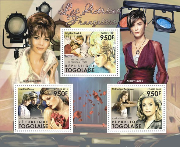 The French Actresses, (Laetitia Costa, Brigitte Bardot, Catherine Deneuve). - Issue of Togo postage stamps