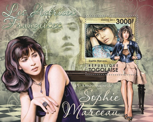 The French actresses - 45th Anniversary of Sophie Marceau . - Issue of Togo postage stamps