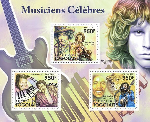 Famous Musicians, (Fats Domino, Jimi Hendrix, Bob Marley). - Issue of Togo postage stamps