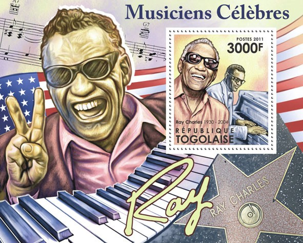 Famous Musicians - Ray Charles, (1930-2004). - Issue of Togo postage stamps