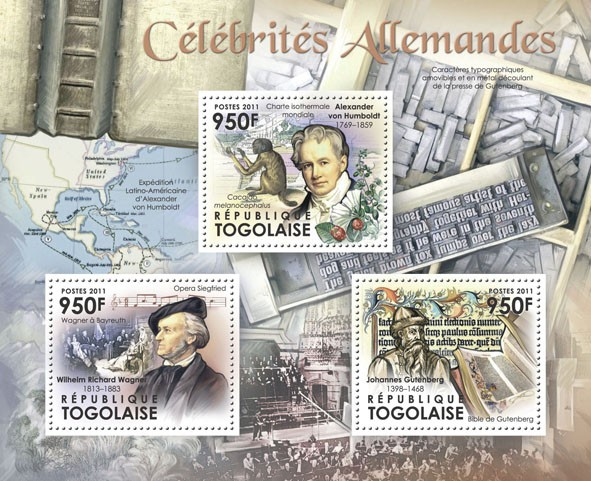 Famous German,  (Wilhelm Richard Wagner, Alexander von Humboldt, Johanes Gutenberg). - Issue of Togo postage stamps