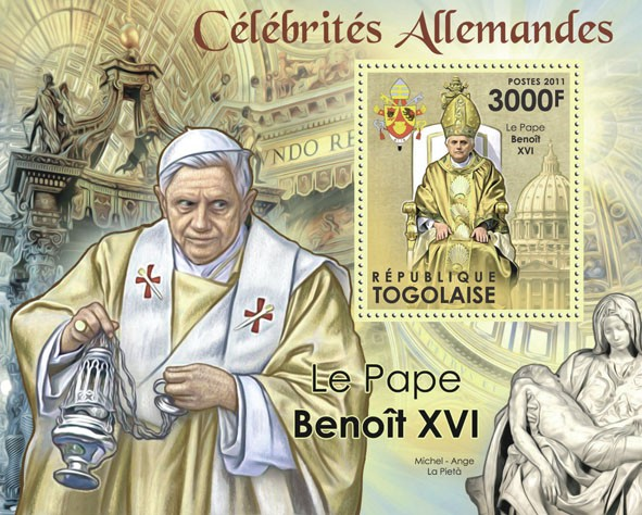 Famous German - Pope Benedict XVI. - Issue of Togo postage stamps