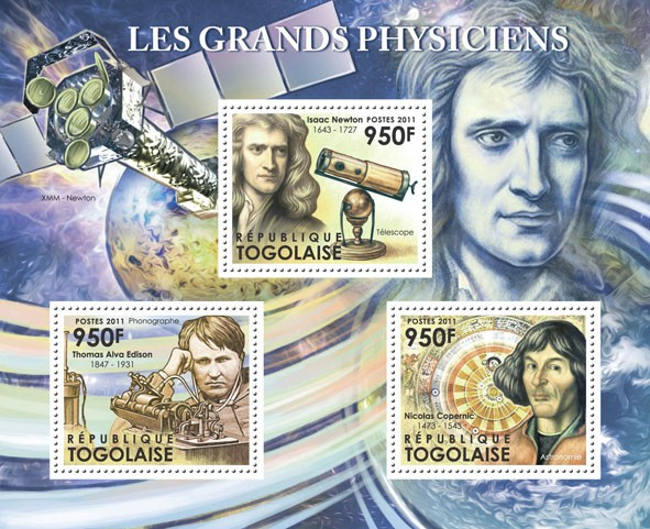 Great Physicists, (Thomas Alva Edison, Isaac Newton, Nicolas Copernic). - Issue of Togo postage stamps