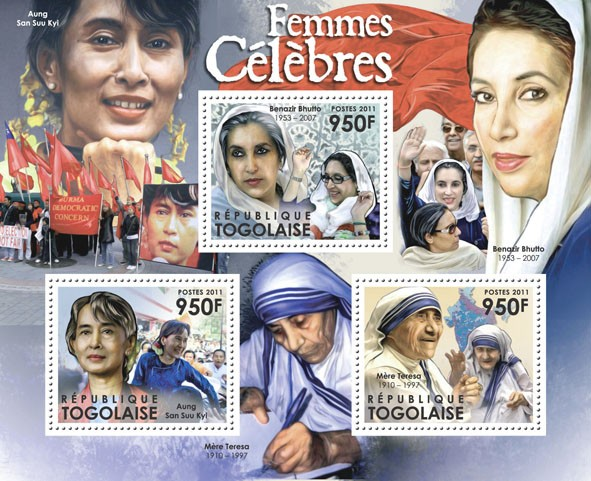 Famous Women, (Aung San Suu Kyi, Benazir Bhutto, Mother Teresa). - Issue of Togo postage stamps