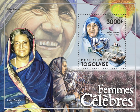 Famous Women, (Mother Teresa). - Issue of Togo postage stamps