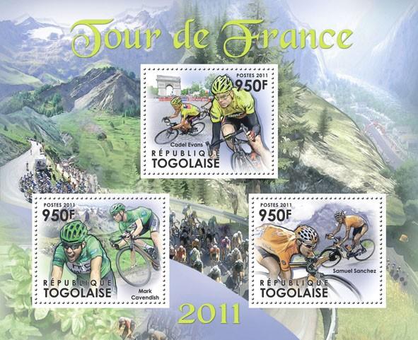 Tour de France 2011,  (Mark Cavendish, Cadel Evans, Samuel Sanchez) - Issue of Togo postage stamps
