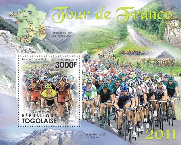 Tour de France 2011,  (Cadel Evans). - Issue of Togo postage stamps