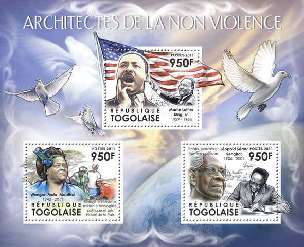 Architects of Nonviolence, (Wangari Muta Maathai, Martin Luther King, Jr.) - Issue of Togo postage stamps