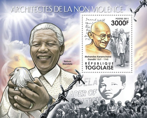 Architects of Nonviolence, (M. K. Gandhi). - Issue of Togo postage stamps