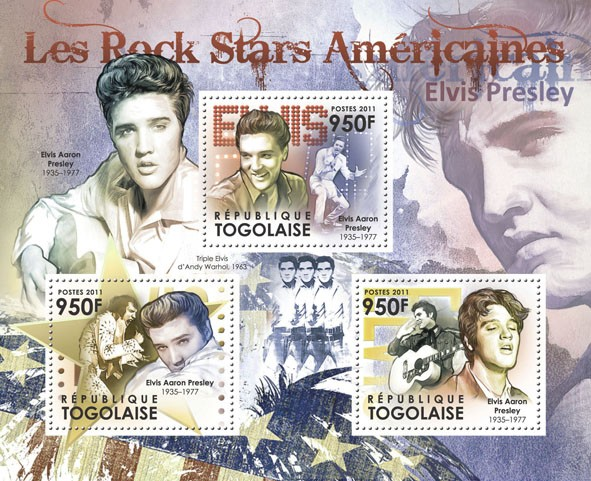 The American Rock Stars - Elvis Presley (1935-1977). - Issue of Togo postage stamps
