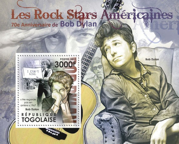 The American Rock Stars - 70th Anniversary of Bob Dylan. - Issue of Togo postage stamps