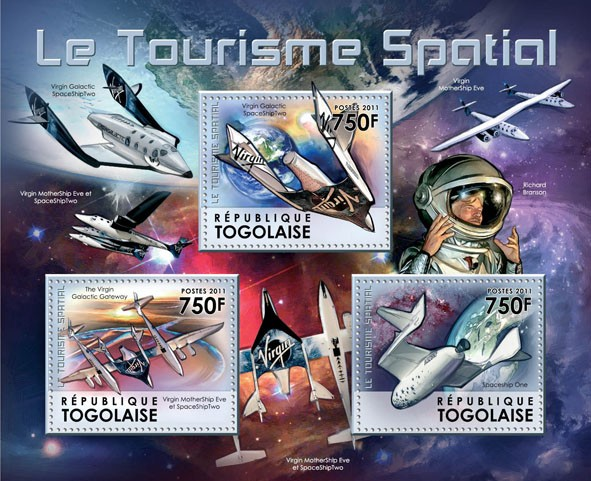 Space Tourism, (Virgin Galactic Spaceship One). - Issue of Togo postage stamps