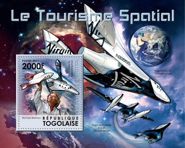 Space Tourism, (Virgin Galactic Spaceship Two). - Issue of Togo postage stamps