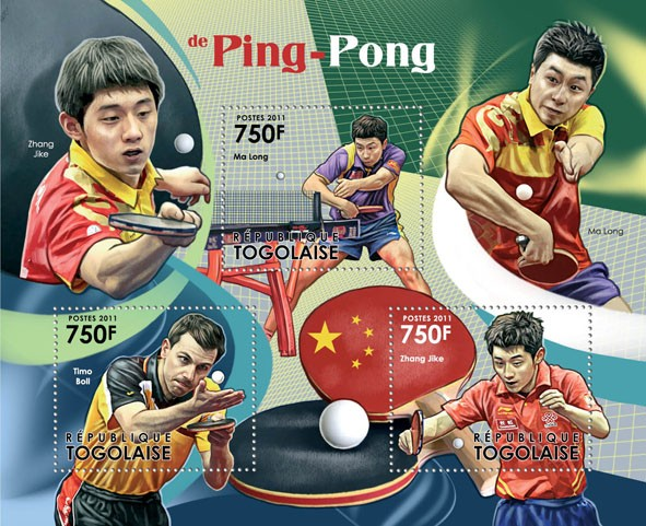 Table Tennis, (Ma Long, Timo Boll, Zhang Jike). - Issue of Togo postage stamps