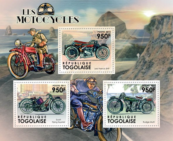 Motorcycles, (Lea Francis 5hp, Scott Flying Squirrel, Rudge-Multi). - Issue of Togo postage stamps