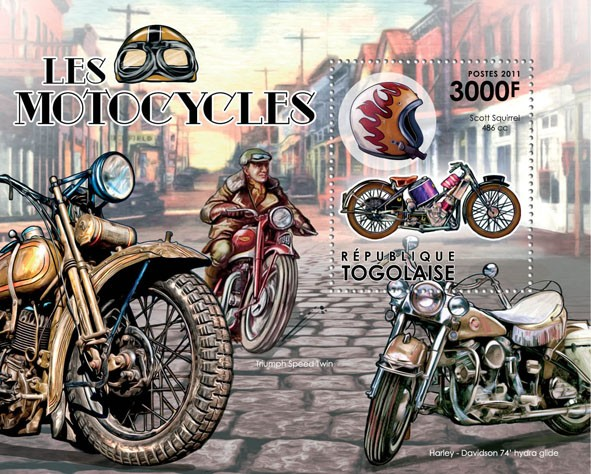Motorcycles, (Scott Squirrel 486 cc). - Issue of Togo postage stamps