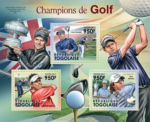 Golf Champions, (Luke Donald, Lee Westwood, Rory Mcllroy). - Issue of Togo postage stamps