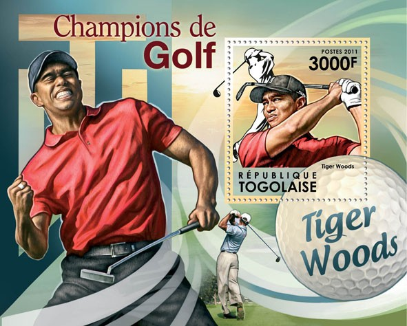 Golf Champions, (Tiger Woods). - Issue of Togo postage stamps