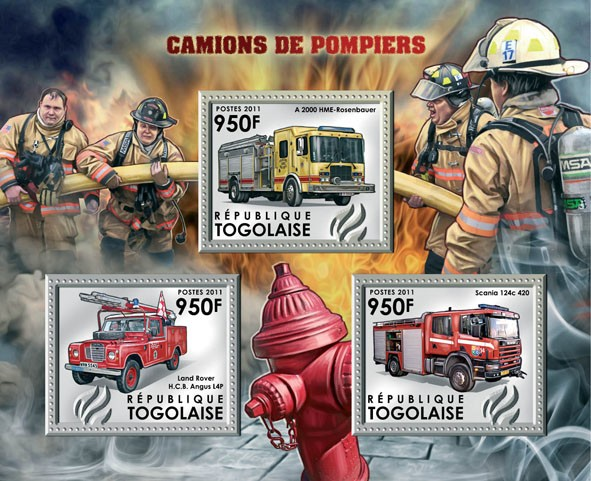 Fire Trucks, (A.2000 HME, Land Rover HCB, Scania 124c-420). - Issue of Togo postage stamps
