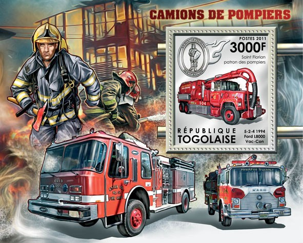 Fire Trucks, (Ford L8000 Vac-Can). - Issue of Togo postage stamps
