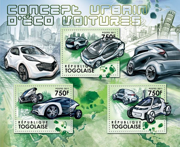 "Urban Concept for ""Green Cars"" - Issue of Togo postage stamps"