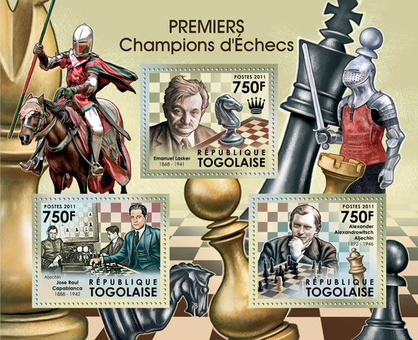 First Champions of Chess,  (Emanuel Lasker, Jose Raul Capablanca, A.A.Aljechin). - Issue of Togo postage stamps