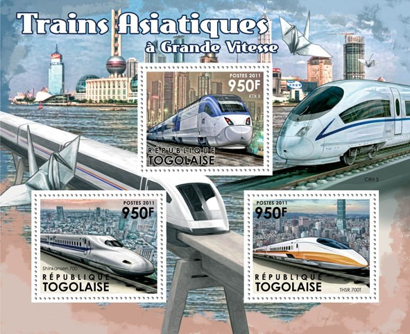 Asian Speed Trains, (KTX II, Shinkansen 700, THSR 700T). - Issue of Togo postage stamps