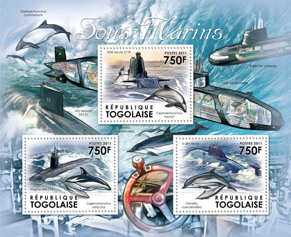 Submarines & Dolphins, (HMS Astute S119, K-284 Akula). - Issue of Togo postage stamps