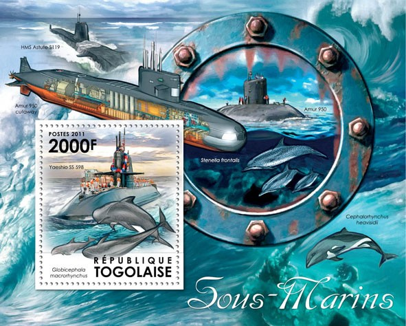 Submarines & Dolphins, (Yaeshio SS 598). - Issue of Togo postage stamps