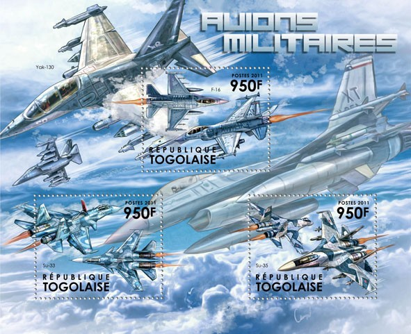 Military Aircrafts, (F-16, SU-33, SU-35). - Issue of Togo postage stamps