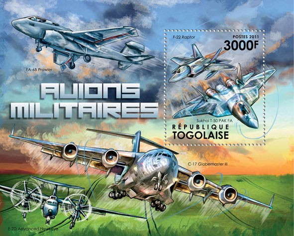 Military Aircrafts, (F-22 Raptor). - Issue of Togo postage stamps