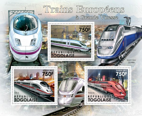 Speed trains of Europe, (AVE, ICE-3, Thalys). - Issue of Togo postage stamps