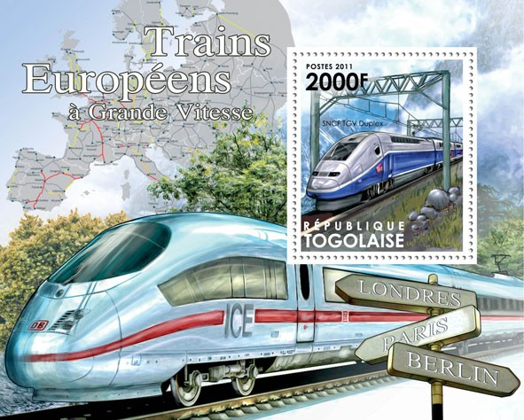 Speed Trains of Europe, (SNCF TGV Duplex). - Issue of Togo postage stamps