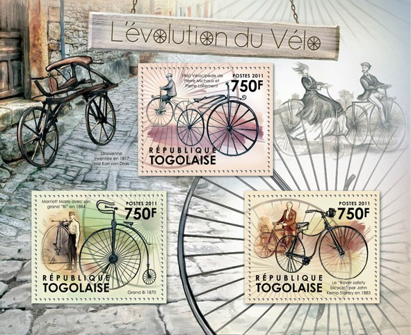 The Evolution of Bicycles,  (1860, 1884, 1885). - Issue of Togo postage stamps